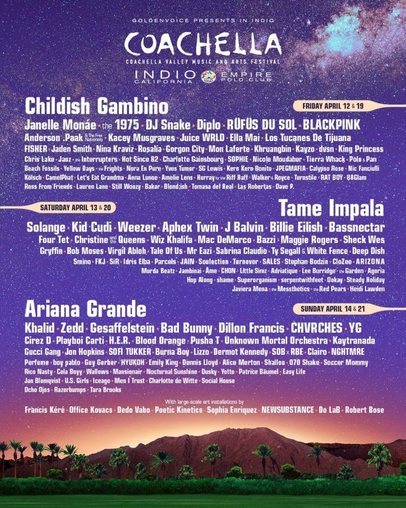 Coachella Valley Music Festival 2019 LINEUP, Coachella, California